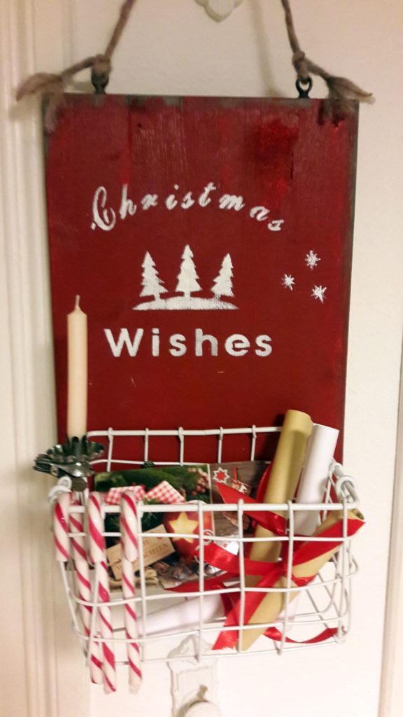 schild korb christmas wishes