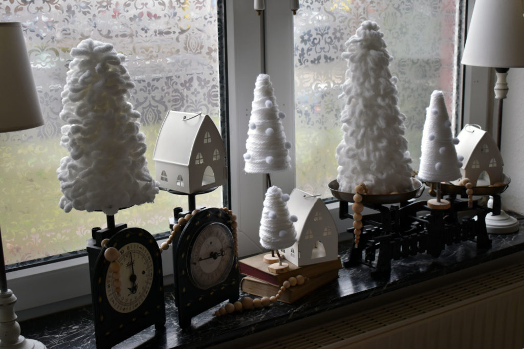 tannenbäume winterdeko shabby landhaus
