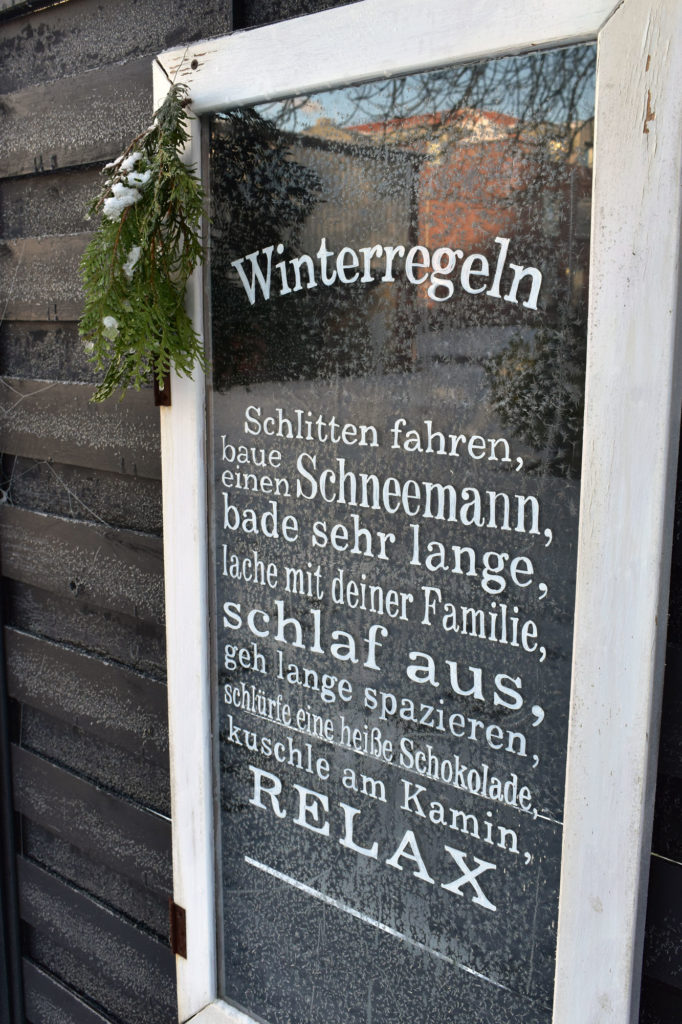 winterregeln garten schild frost