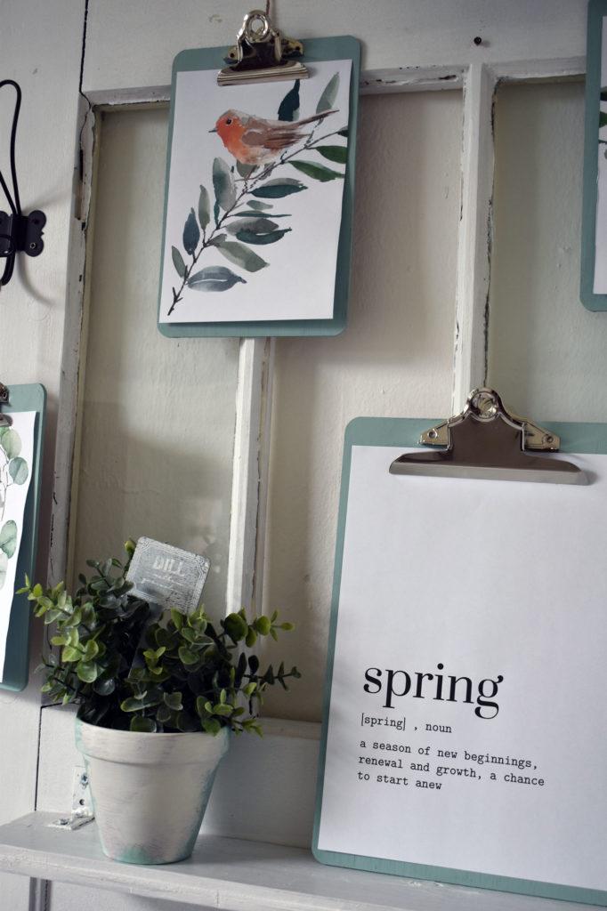 Klemmbrett DIY Frühlingsdeko Frühlingsbilder