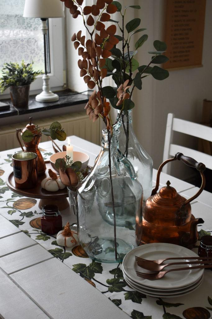 esszimmer Tischdeko Herbst Kürbis Kupfer rustikal