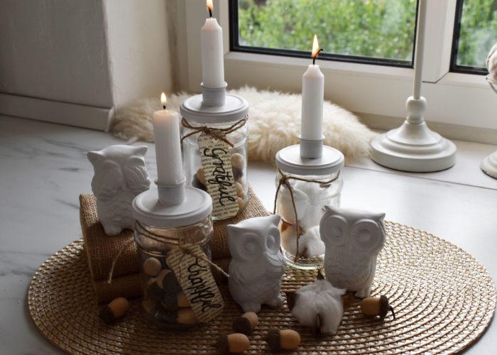 DIY- Kerzenleuchter aus Einmachgläsern